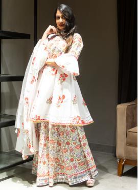 Subtle Off White Printed Cotton Designer Lehenga Choli