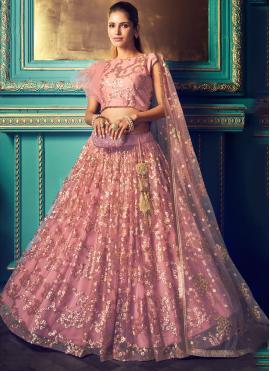 Subtle Pink Embroidered Net Trendy Lehenga Choli