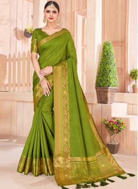 Sumptuous Silk Green Designer Saree
