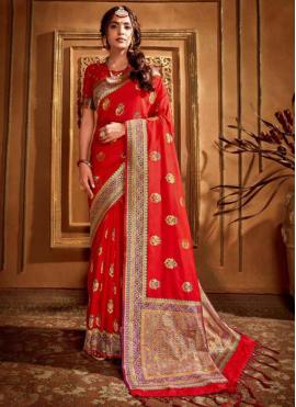 Sumptuous Silk Red Designer Saree
