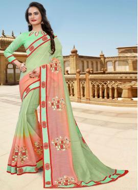 Sunshine Lace Green and Pink Cotton Classic Designer Saree