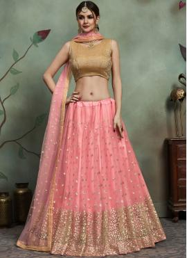 Sunshine Pink Wedding Trendy Lehenga Choli