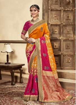 Superb Banarasi Silk Patch Border Hot Pink and Mustard Designer Traditional Saree