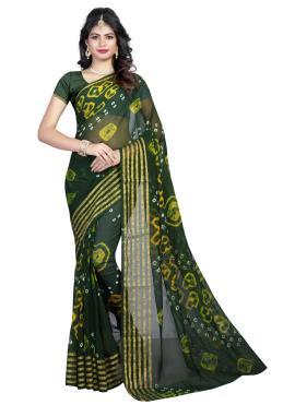 Superb Faux Chiffon Abstract Print Green Printed Saree