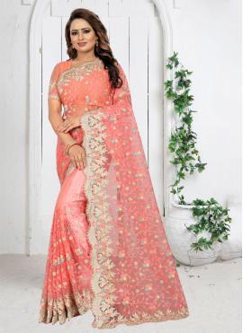 Superb Net Hot Pink Classic Saree