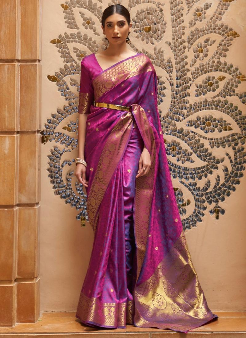 Superb Purple Kanjivaram Silk Traditional Saree
