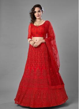 Superb Red Net Lehenga Choli