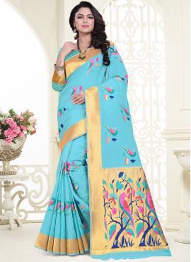 Superb Weaving Blue Banarasi Silk Classic Saree