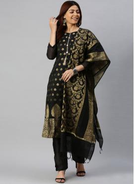 Superb Woven Black Banarasi Silk Pant Style Suit