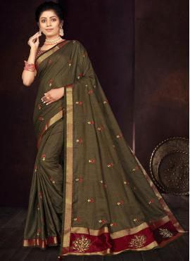 Superlative Embroidered Green Traditional Saree
