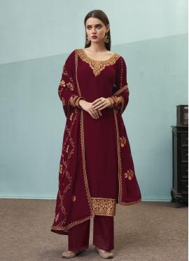 Superlative Faux Georgette Wine Designer Pakistani Suit