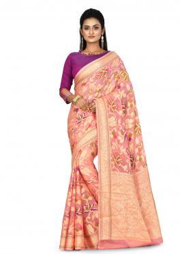 Superlative Weaving Peach Banarasi Silk Traditional Saree