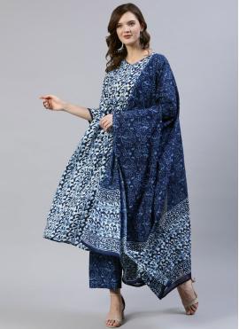 Surpassing Blue Print Cotton Readymade Suit