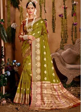 Surpassing Cotton Green Traditional Designer Saree