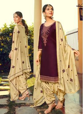 Surpassing Cotton Silk Purple Print Patiala Suit