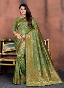 Surpassing Silk Green Weaving Traditional Saree