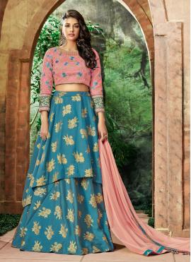 Swanky Blue Art Silk Lehenga Choli