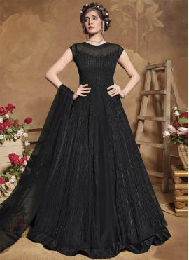 Swanky Embroidered Black Net Floor Length Anarkali Suit