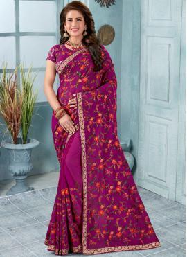 Swanky Faux Georgette Resham Purple Trendy Saree