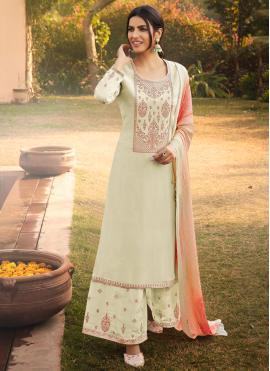 Swanky Green Embroidered Silk Designer Pakistani Suit
