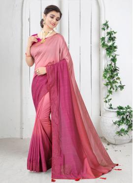Swarovski Silk Shaded Saree in Pink