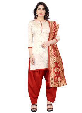 Tafeta Silk Fancy Off White and Red Designer Patiala Suit