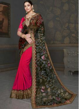 Tamannaah Bhatia Faux Chiffon Multi Colour and Rani Patch Border Half N Half  Saree