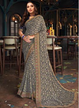 Tamannaah Bhatia Grey Silk Designer Saree