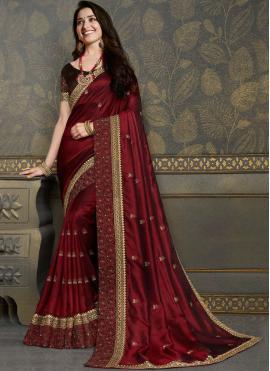 Tamannaah Bhatia Maroon Embroidered Classic Designer Saree