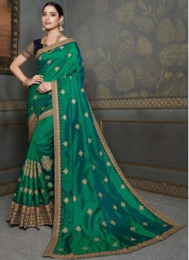 Tamannaah Bhatia Silk Embroidered Green Designer Traditional Saree