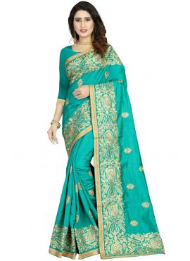 Tantalizing Art Silk Sea Green Classic Designer Saree