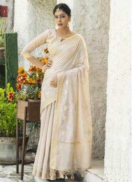 Tantalizing Cream Resham Designer Traditional Saree