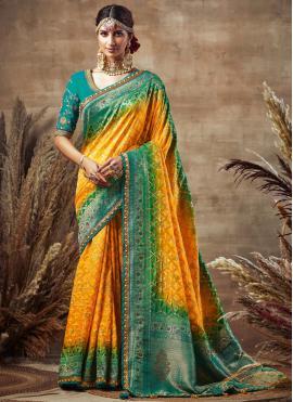Tantalizing Fancy Fabric Yellow Designer Traditional Saree