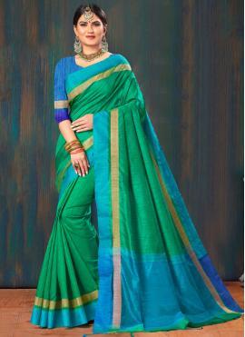 Tantalizing Fancy Green Cotton Classic Saree