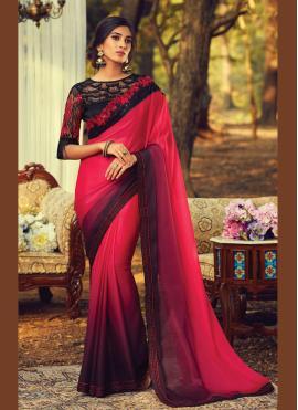 Tantalizing Faux Chiffon Multi Colour Embroidered Traditional Saree