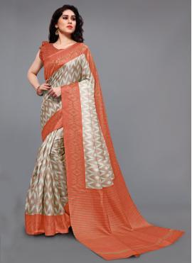 Tantalizing Khadi Silk Printed Off White and Orange Printed Saree