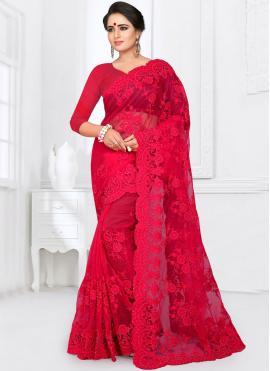 Tantalizing Resham Net Red Classic Saree