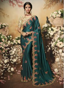 Teal Chiffon Satin Designer Bollywood Saree