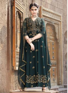 Teal Color Floor Length Anarkali Suit