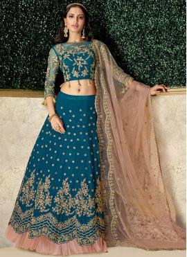 Teal Satin Silk Wedding Lehenga Choli