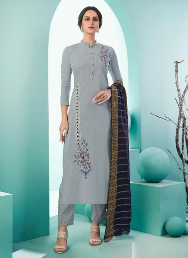 Tempting Grey Cotton Trendy Salwar Kameez