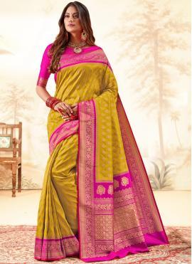Tempting Weaving Multi Colour Silk Traditional Saree