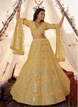 Thread Organza A Line Lehenga Choli in Yellow