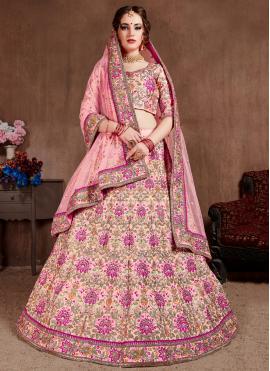 Thread Silk A Line Lehenga Choli in Pink
