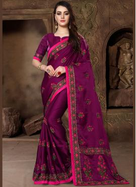 Thrilling Magenta Patch Border Art Silk Designer Traditional Saree