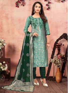 Thrilling Printed Green Banarasi Silk Churidar Designer Suit