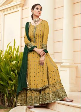Thrilling Yellow Designer Palazzo Salwar Suit