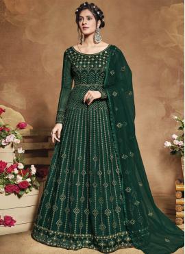 Tiptop Green Net Floor Length Anarkali Suit