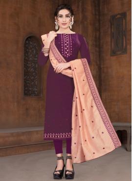 Tiptop Viscose Purple Embroidered Designer Straight Suit