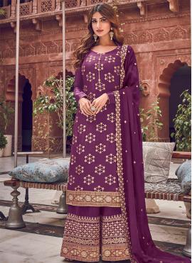 Titillating Embroidered Purple Trendy Straight Salwar Kameez